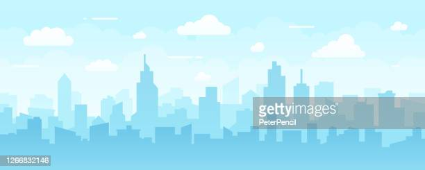 abstract modern city skyline - seamless vector pattern - city stock illustrations
