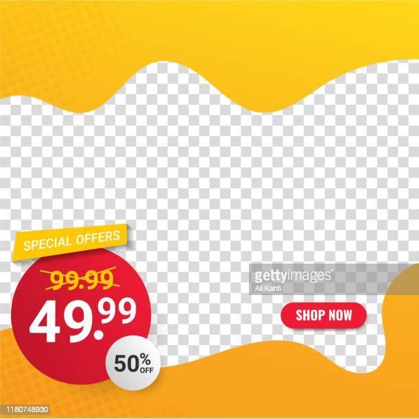 abstract modern sale banner template for web social media promotion editable vector design - newsletter stock illustrations