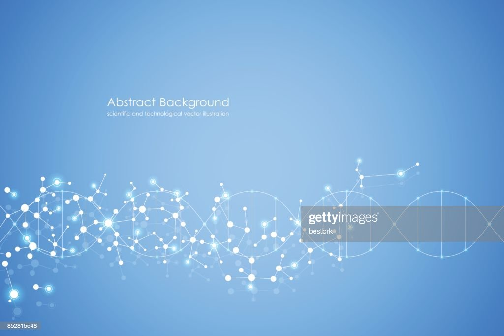 Abstract molecule background, genetic and chemical compounds, medical, technology or scientific concept vector illustration
