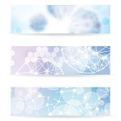 Abstract molecule blue purple colors background banner set