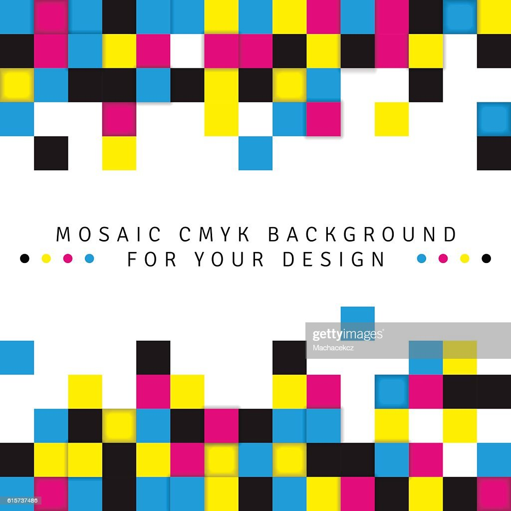Abstract mosaic background from CMYK colors on white background