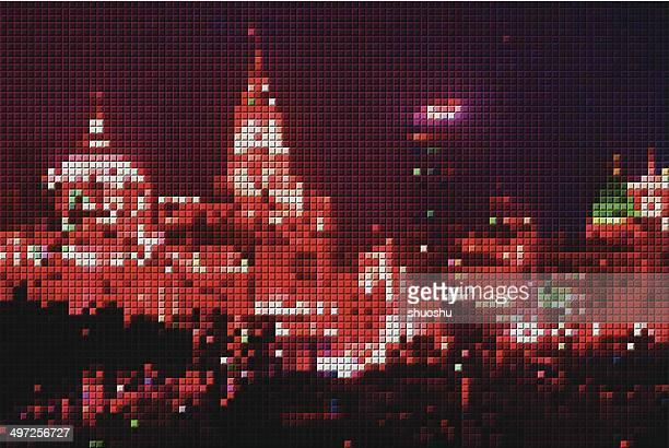 Abstrakte Mosaik-Muster Hintergrund Shanghai bei Nacht