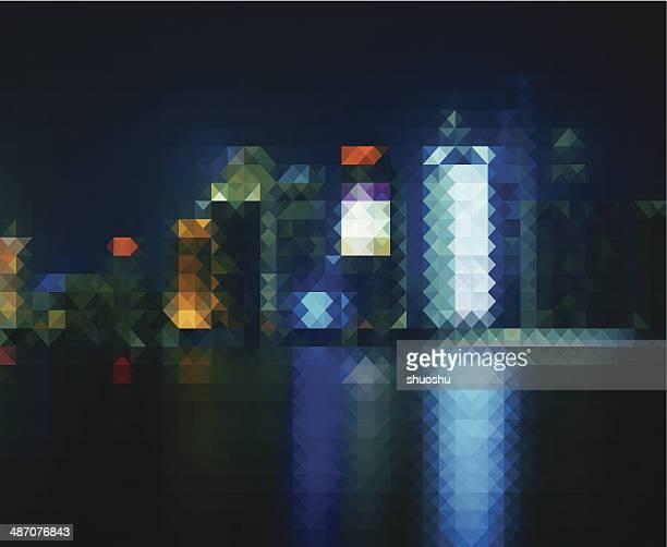 Abstrakte Mosaik-Stadt in der Nacht-Muster Hintergrund