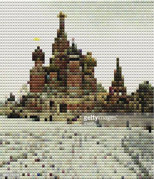abstract mosaic style Kremlin square pattern background