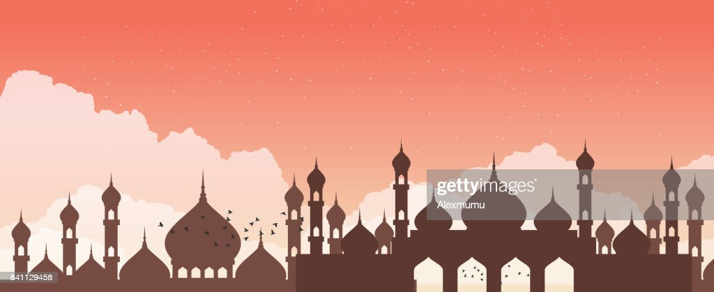 Abstract mosque against the sky with clouds