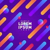 Abstract motion pattern. Rounded diagonal lines and circles with multicolored gradient. Violet cover background template