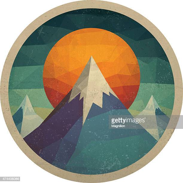 abstract mountain landscape of triangles - travel tag stock illustrations, clip art, cartoons, & icons