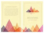 Abstract mountains in geometric style. Front and back page.