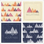 Abstract mountains in geometric style. Set of stylish outdoor card templates and seamless patterns.