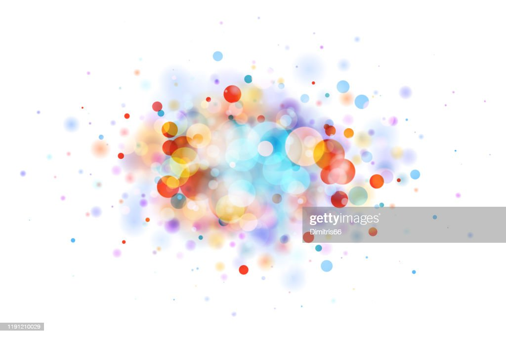 Abstract multicolor blob on white made from defocused circles : stock illustration