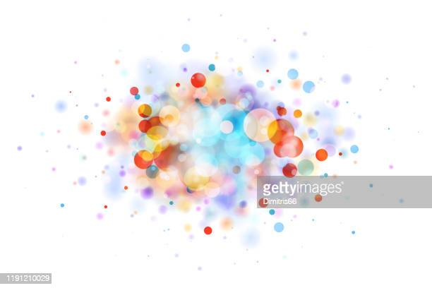 illustrazioni stock, clip art, cartoni animati e icone di tendenza di abstract multicolor blob on white made from defocused circles - festeggiamento