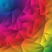 Abstract multicolor geometric rumpled triangles origami style background. Low polygon rainbow design for your business.