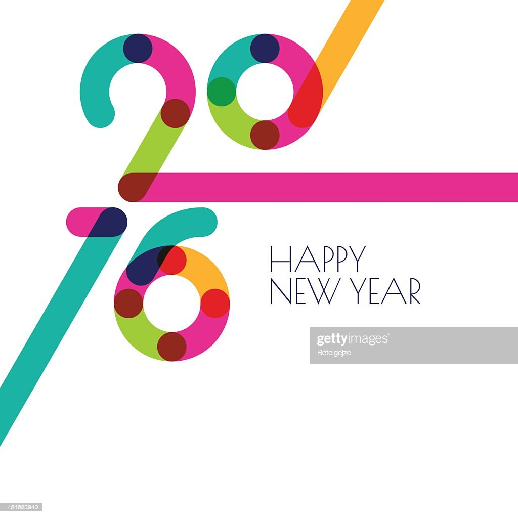 Abstract multicolor New Year 2016 background with place for text.