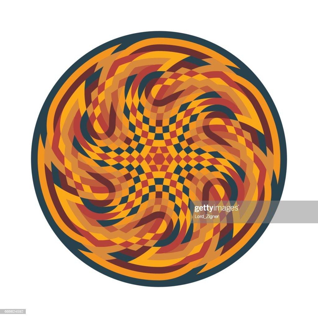 Abstract multicolor symbol. Geometric circular ornament mandala print. Vector Illustration