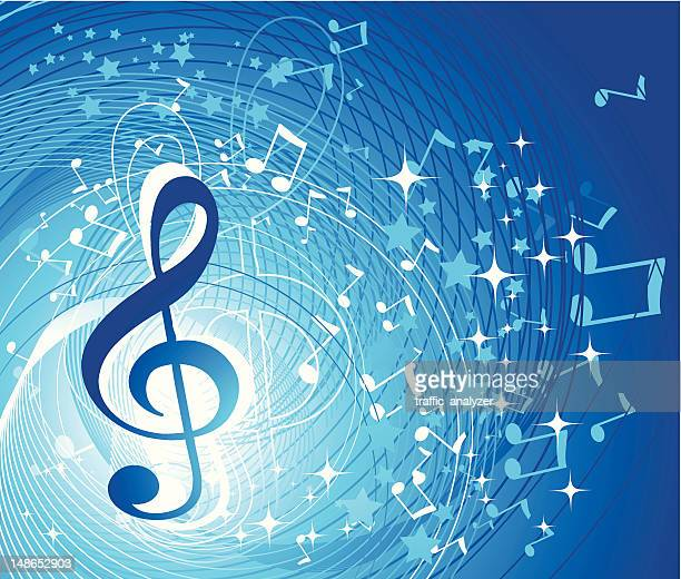abstract music background - treble clef stock illustrations, clip art, cartoons, & icons