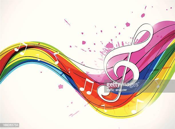 ilustraciones, imágenes clip art, dibujos animados e iconos de stock de abstracto de la música de fondo - treble clef