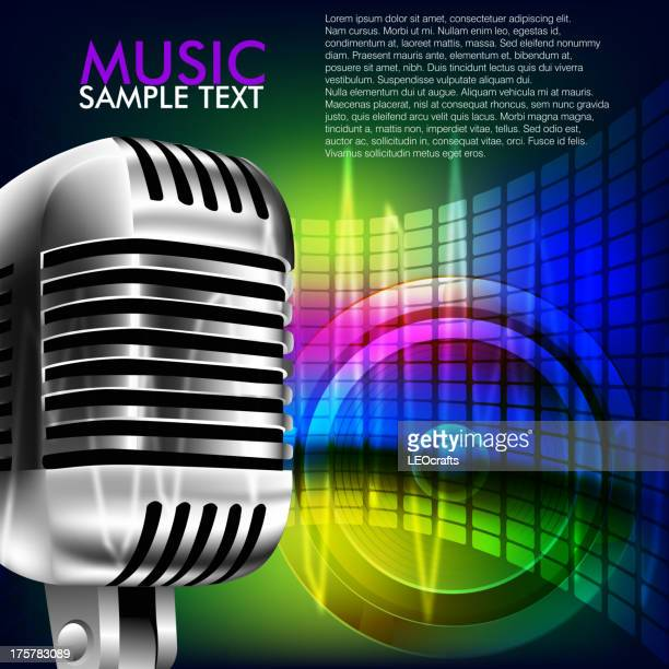Abstract Music Background with Microphone