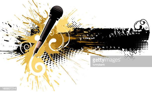 abstract music backround - drop the mic stock illustrations