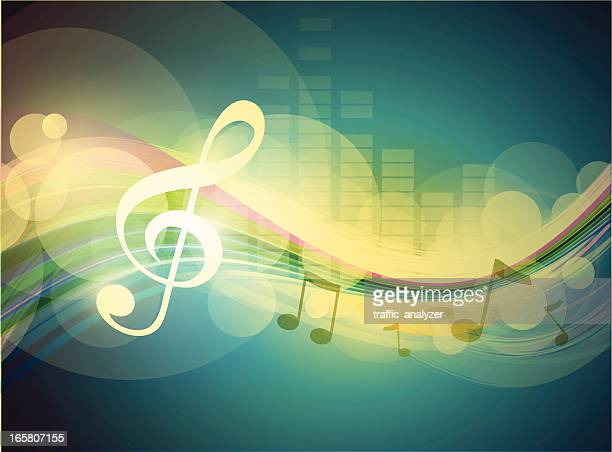 abstract music colorful lines - treble clef stock illustrations, clip art, cartoons, & icons