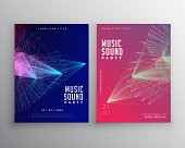 abstract music flyer template design with abstract lines mesh
