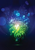 Abstract Music Notes and Bokeh Lights Blue Background