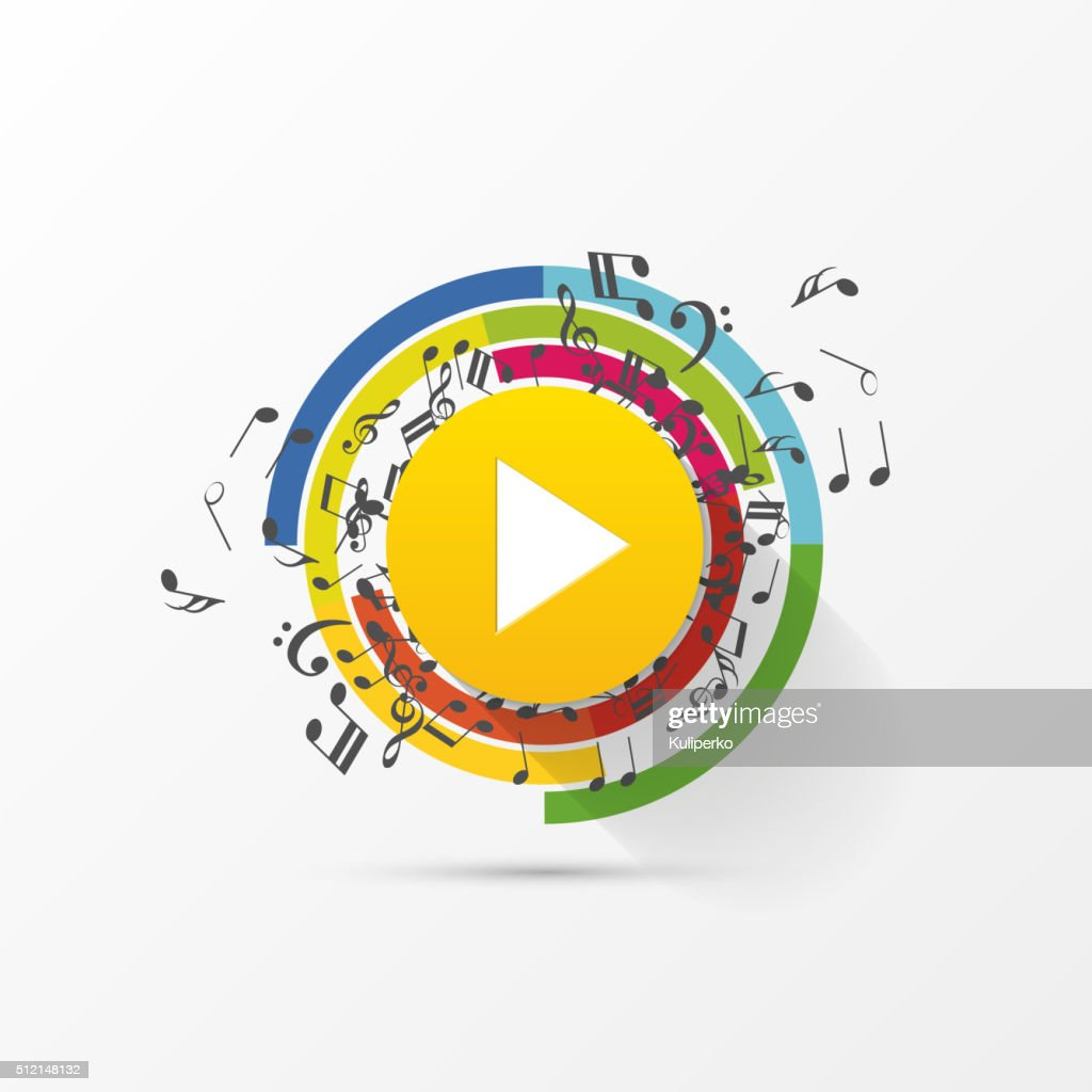 Abstract music play button with note. Vector