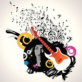 Abstract musical background with music notes