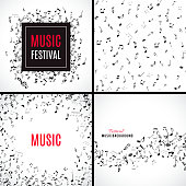 Abstract musical seamless pattern with black notes on white background.