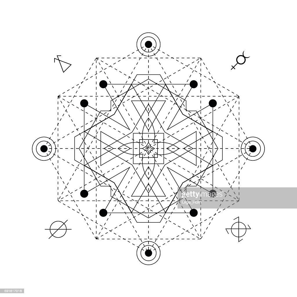 Abstrakte Magische Symbol Geometrie Linear Alchemie Okkulte Zeichen