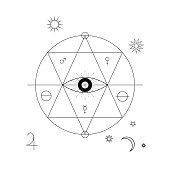 Abstract mystical geometry symbol. Vector linear alchemy, occult, philosophical sign.