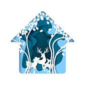 Abstract nature house with deer and tree paper art background