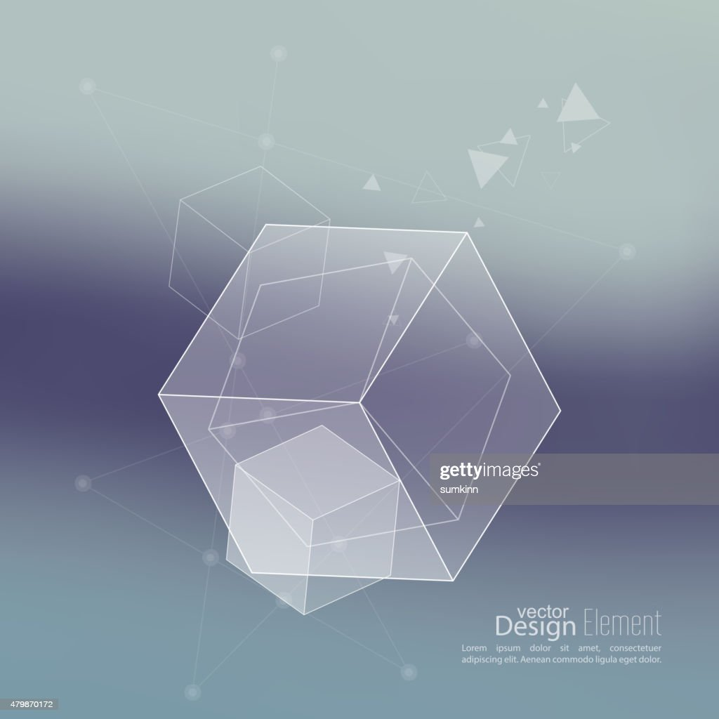 Abstract neat Blurred Background with transparent cubes