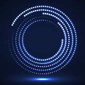 Abstract neon dotted circles
