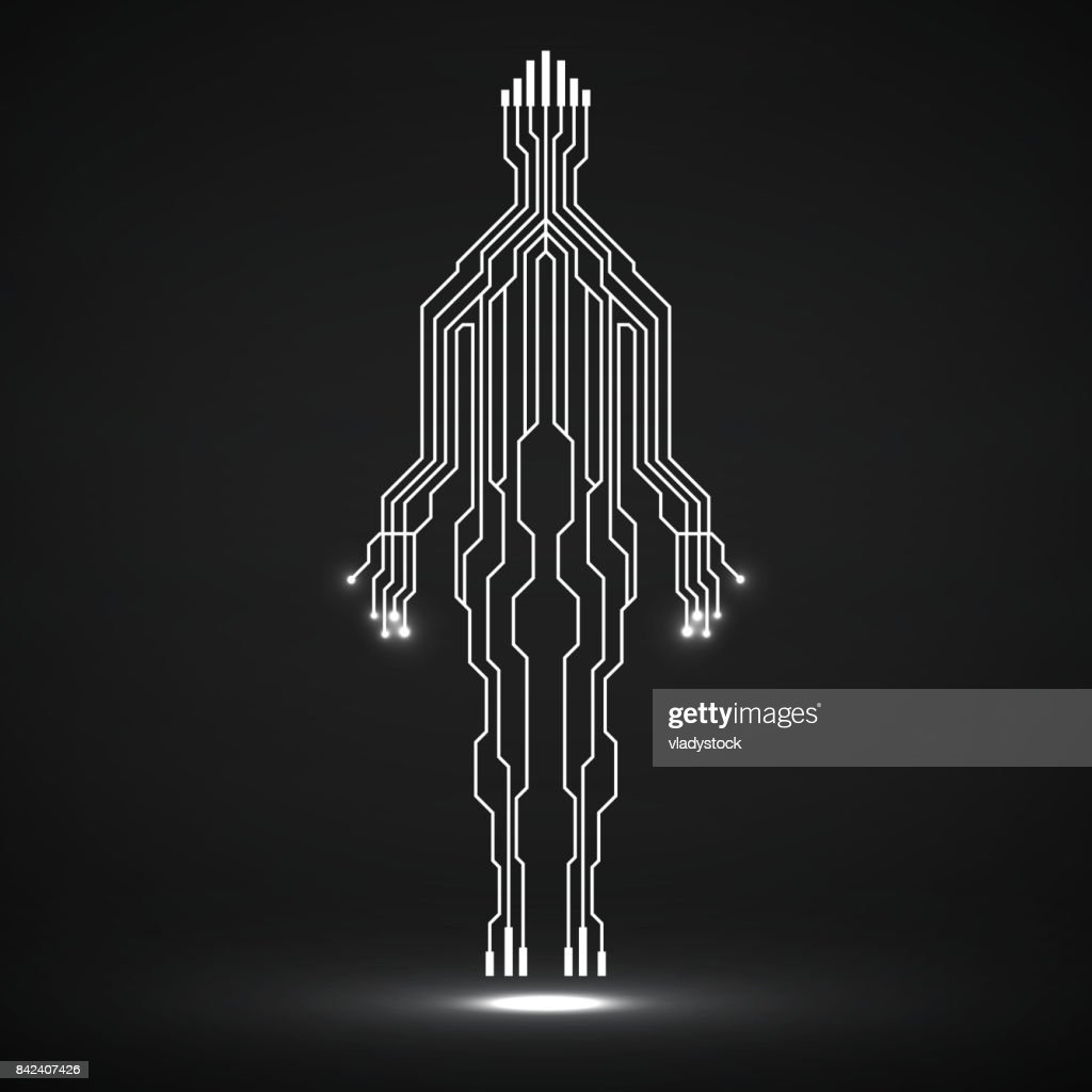 Abstract neon silhouette man of circuit board