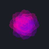 Abstract neon wireframe flower with color gradient