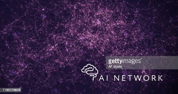 abstract network background. particle wave. blockchain.neural network. - af-studio stock illustrations