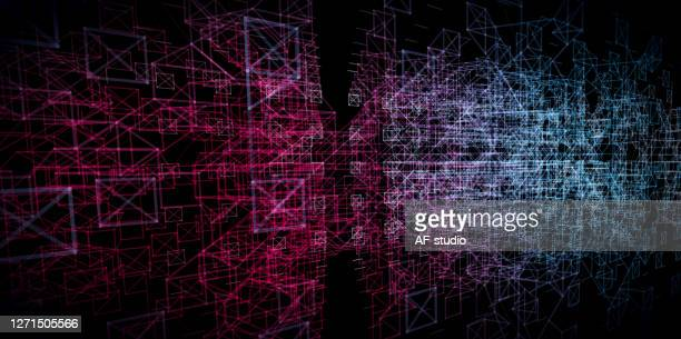abstract network background. particle wave. blockchain.neural network. - artificial neural network stock illustrations