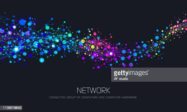 illustrazioni stock, clip art, cartoni animati e icone di tendenza di abstract network background - big data