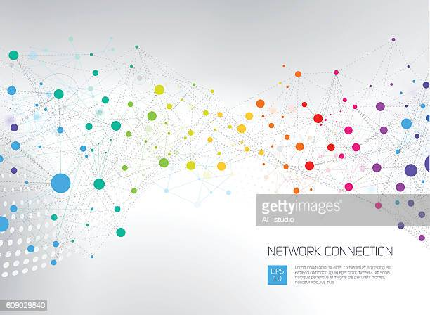 bildbanksillustrationer, clip art samt tecknat material och ikoner med abstract network background - atomic imagery
