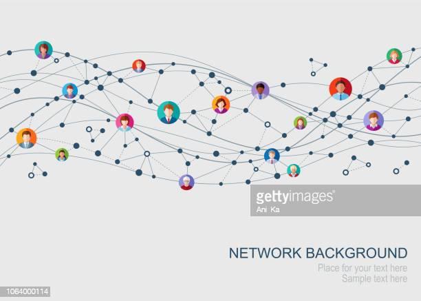 ilustrações, clipart, desenhos animados e ícones de rede abstrata - conexão