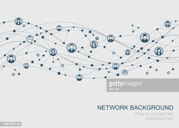 illustrazioni stock, clip art, cartoni animati e icone di tendenza di abstract network - social network