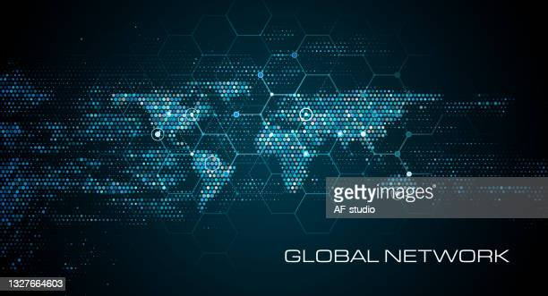 abstract network world map background - global village stock illustrations