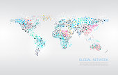 Abstract Network World Map Background