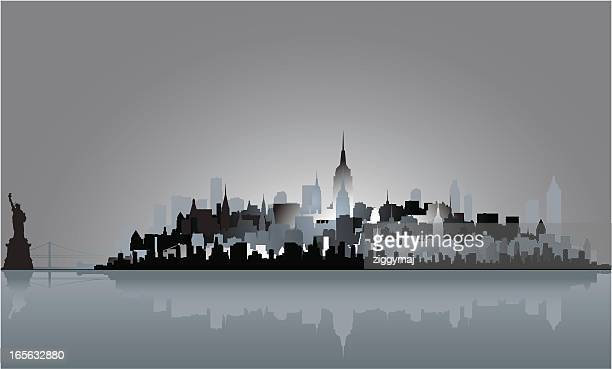 abstract new york skyline - liberty island stock illustrations, clip art, cartoons, & icons