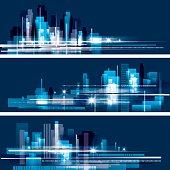 Abstract night city skyline