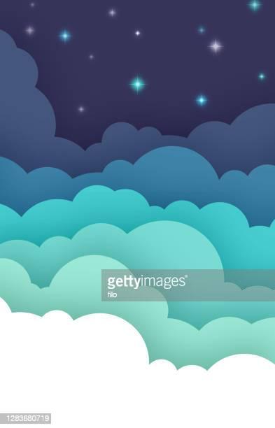 illustrazioni stock, clip art, cartoni animati e icone di tendenza di sfondo cloud notturno astratto - nube