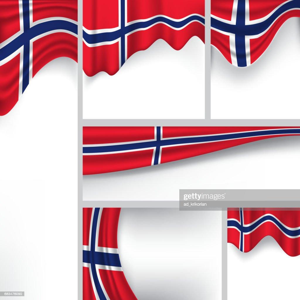 Abstract Norway Flag, Norwegian Colors (Vector Art)