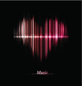 Abstract of electric pink heart with the word music