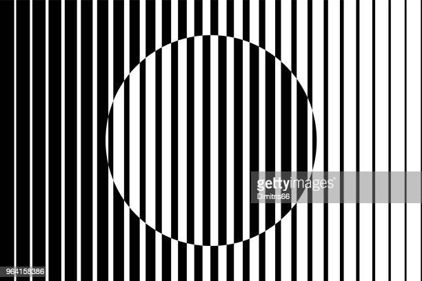 abstract op art background made from black and white lines causing a circle shape illusion. - vertical stock illustrations
