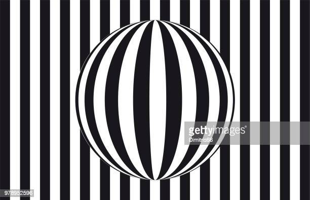 Abstract op art: sphere refracting parallel lines in front of a striped black and white background